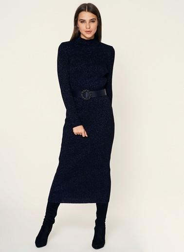 Loves You Simli Uzun Triko Elbise Siyah